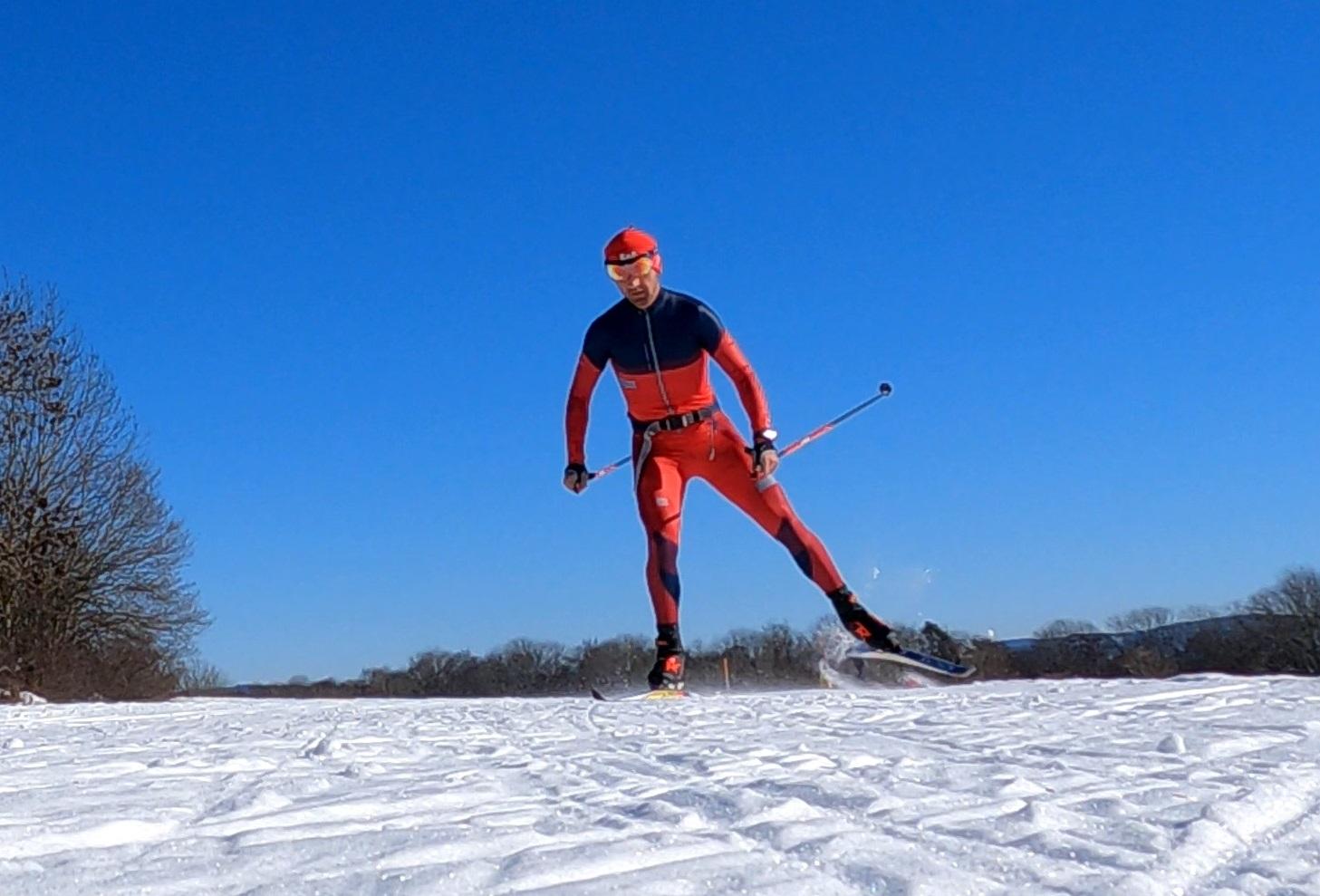 Stephan beim Skilanglauf auf der Schwäbischen Alb