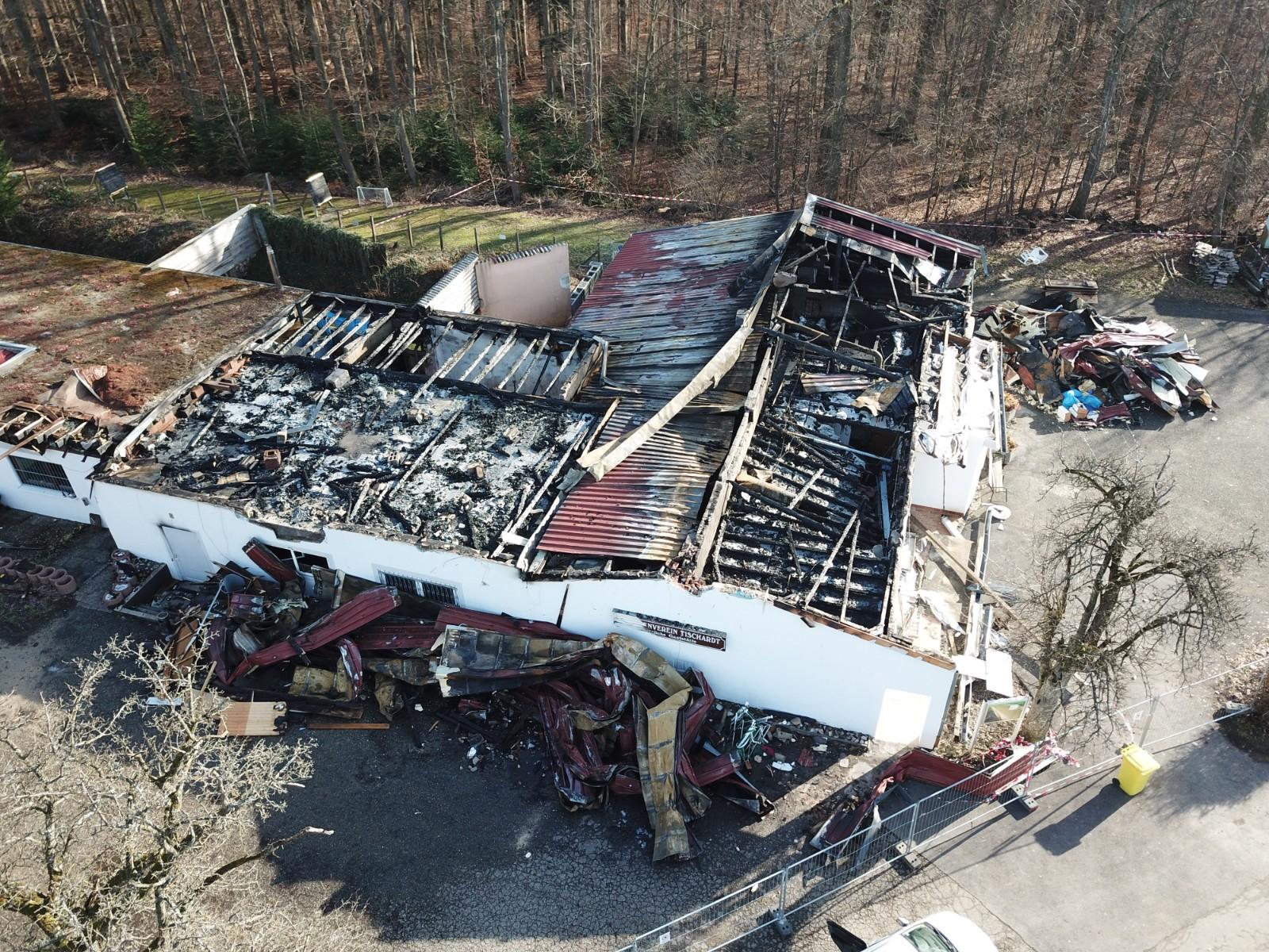 Luftbild vom Schützenhaus Tischardt nach dem Brand