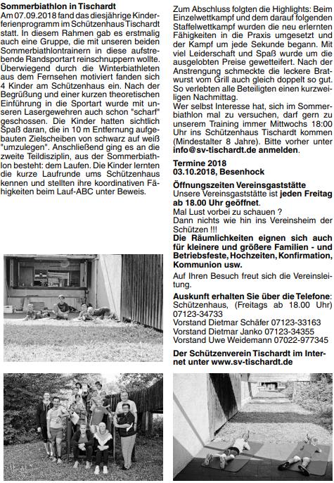 Sommerbiathlon SV Tischardt im Amtsblatt Frickenhausen