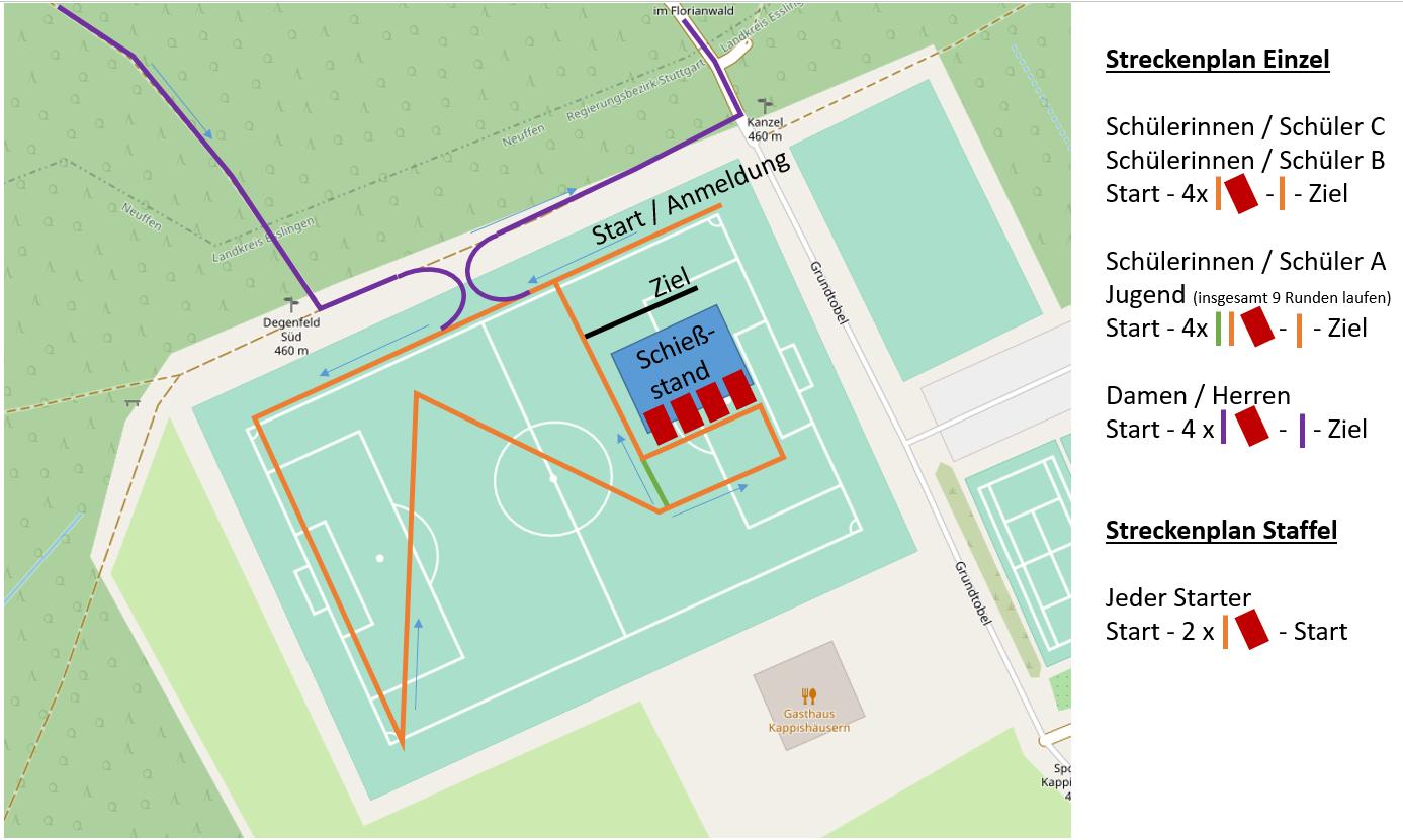Streckenplan Start- / Zielbereich